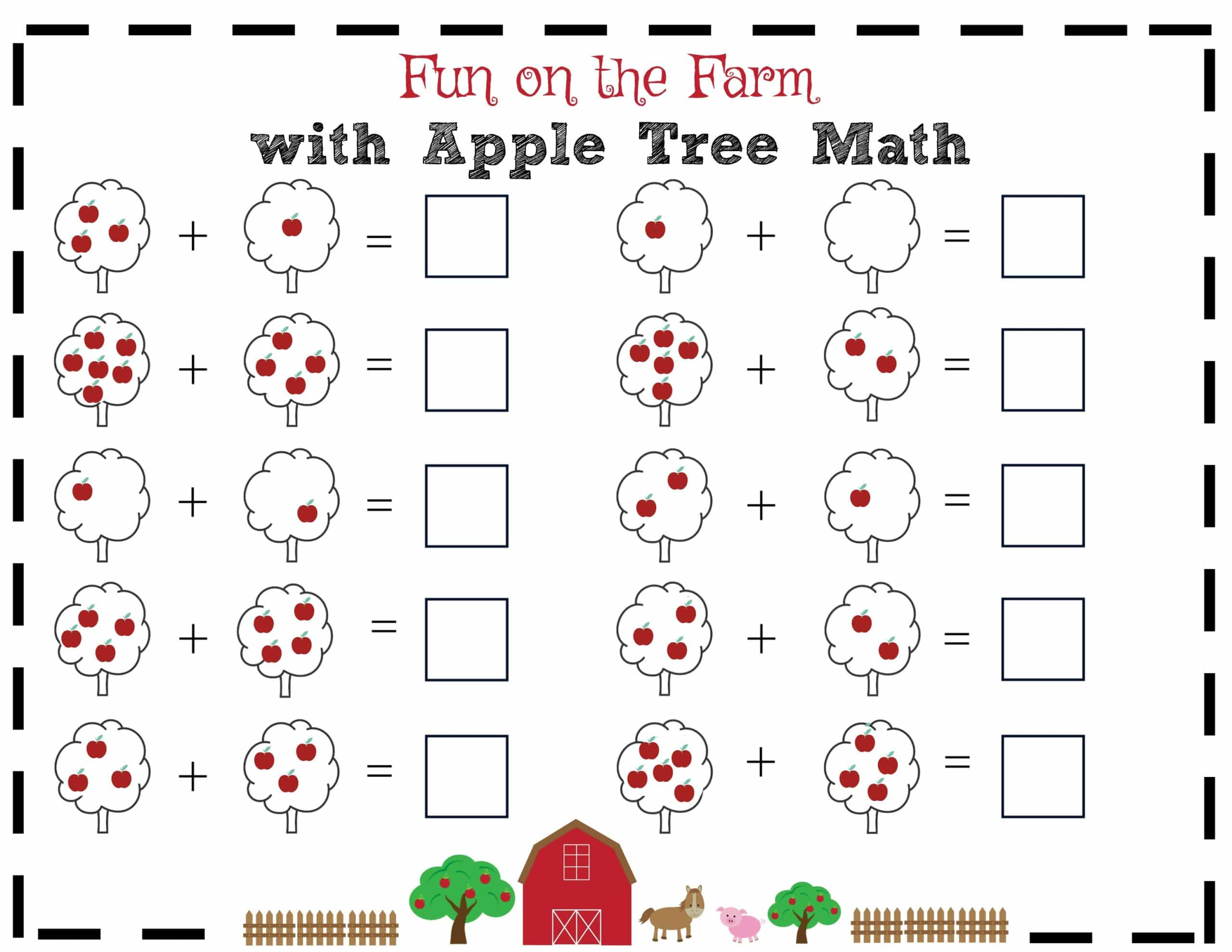 Fun On The Farm With Apple Tree Math