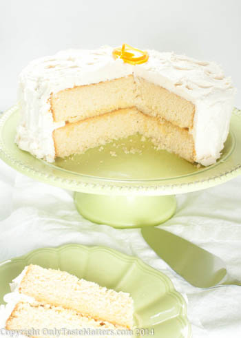 Yellow #LayerCake with #BloodOrange Curd and Vanilla #Buttercream. Yes please! For the full #recipe, visit OnlyTasteMatters.com. #dessert #glutenfree