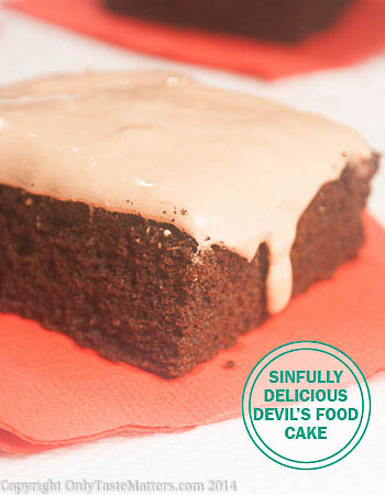 Sinfully Delicious Devil's Food Cake. Light and airy but oh so #chocolaty! Visit OnlyTasteMatters.com for the #recipe. #glutenfreebaking