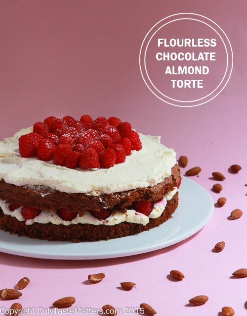 Flourless Chocolate Almond Torte with Raspberries and White Chocolate Whipped Cream #gfree