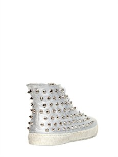 Gienchi Lame' Soft Leather Spiked Sneakers [436] 6