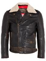 Edwin Black Shearling Leather Jofama Airman Jacket