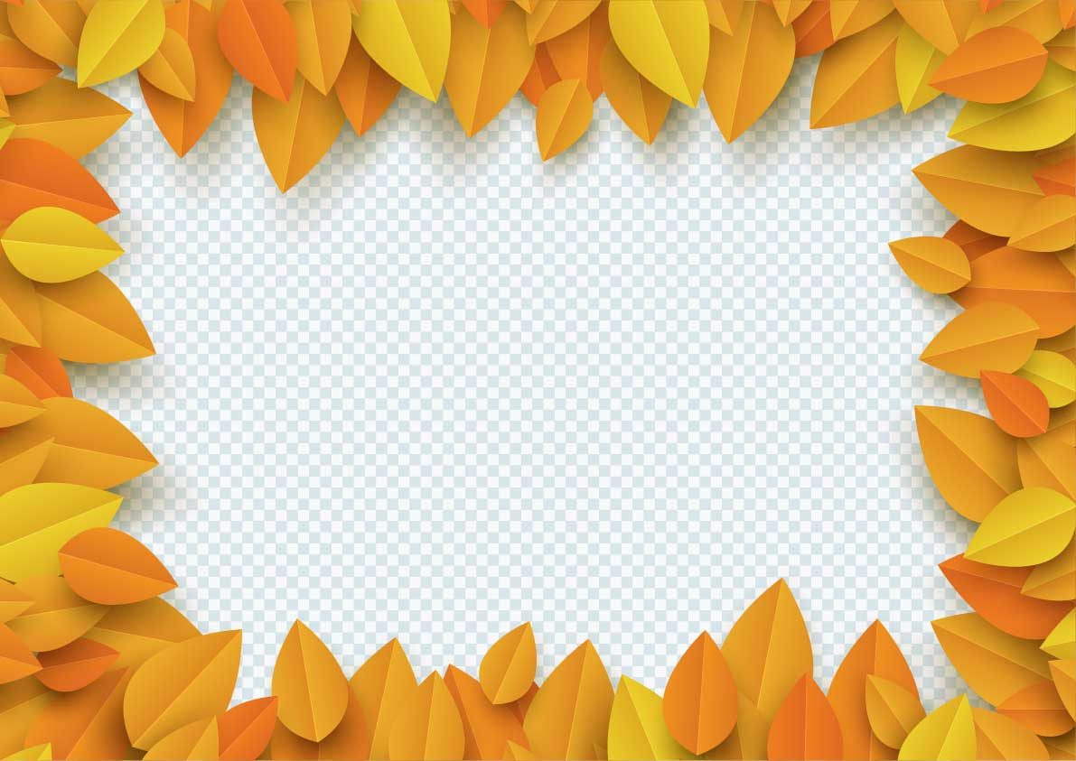 3d Leaves Border Autumn PNG
