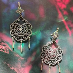 Enchanted Garden Silver Drop Earrings Artisan Hand crafted Onlyway Jewelry