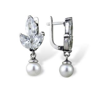 Lily Pearl CZ Stones Earrings Sterling Silver Onlyway Jewelry