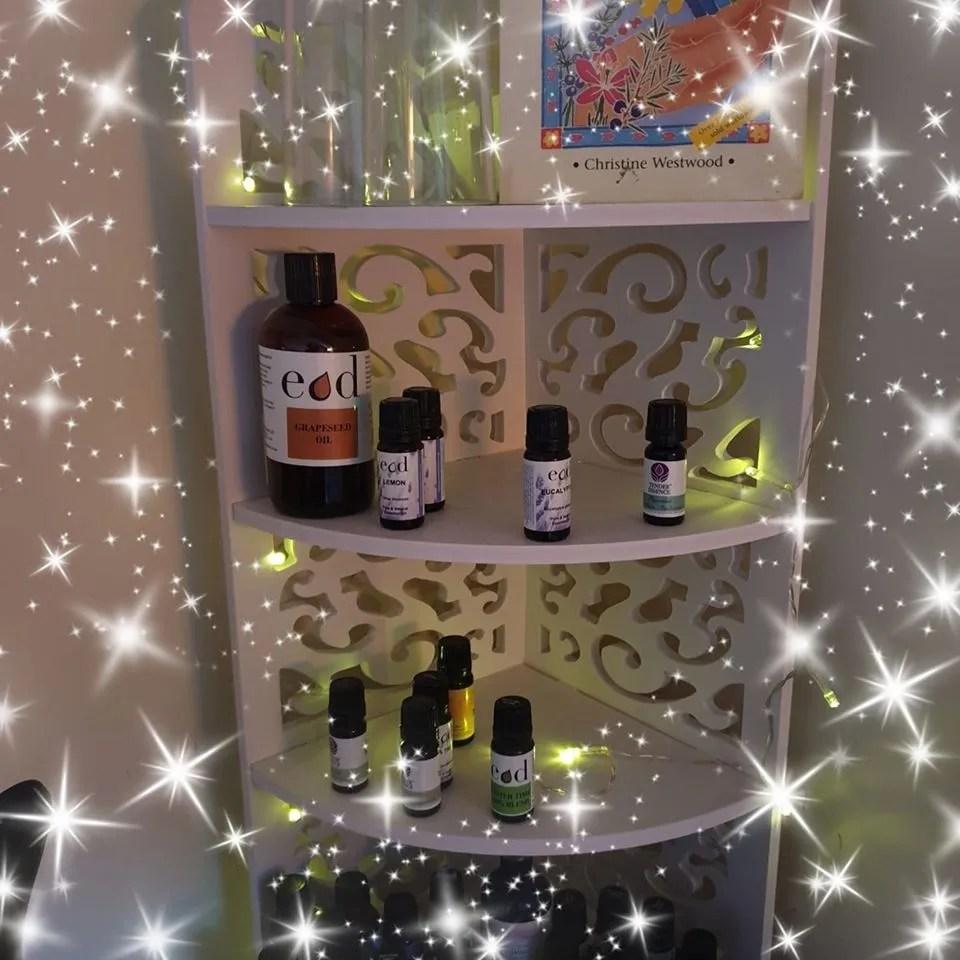 shelf with essential oils