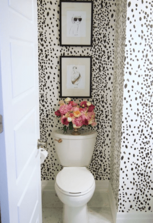 powder room black and white
