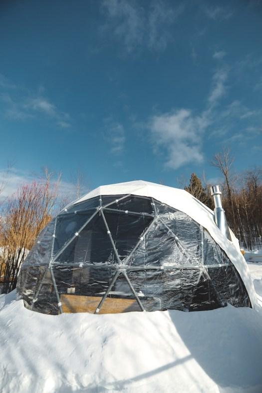 Dôme Bel Air dans les Laurentides en hiver