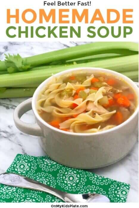 A bowl of chicken noodle soup with celery in the background and text title overlay