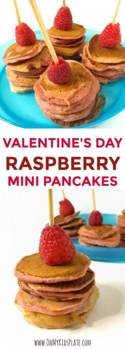 Small pancake stacks topped with raspberries with text title overlay