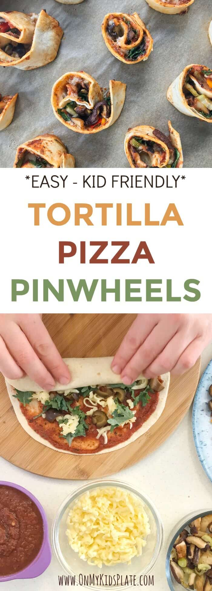 A person\'s hands wrapping a tortilla filled with pizza ingredients with text title overlay