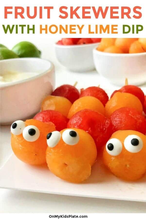 Close up of melon caterpillar skewers faces