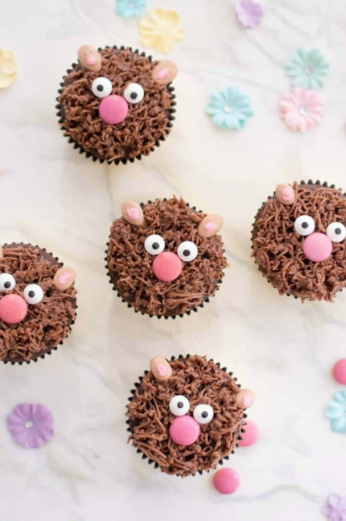 Multiple cupcakes from overhead decorated like brown bears