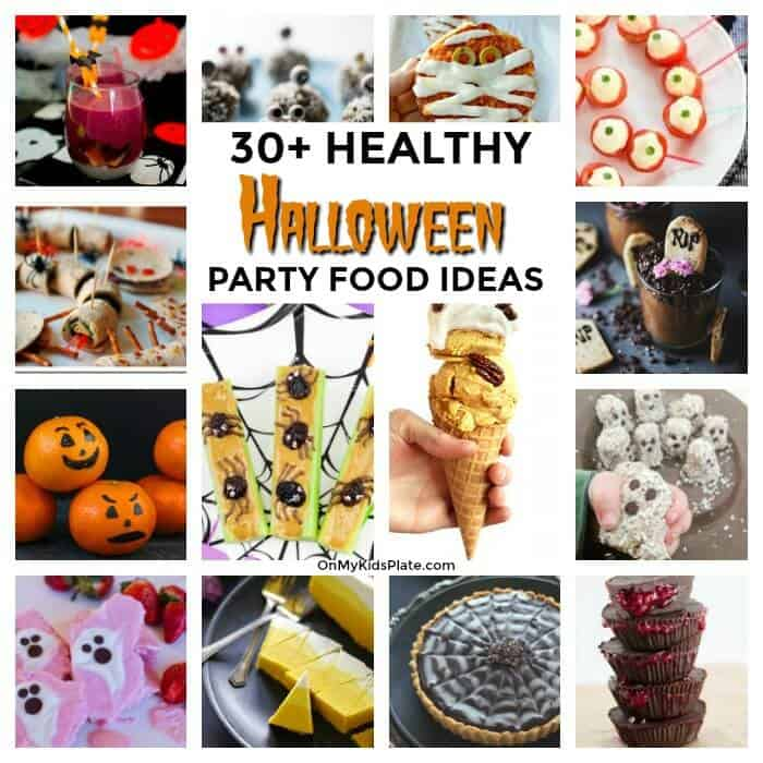An image collage of Halloween party food with text title overlay.