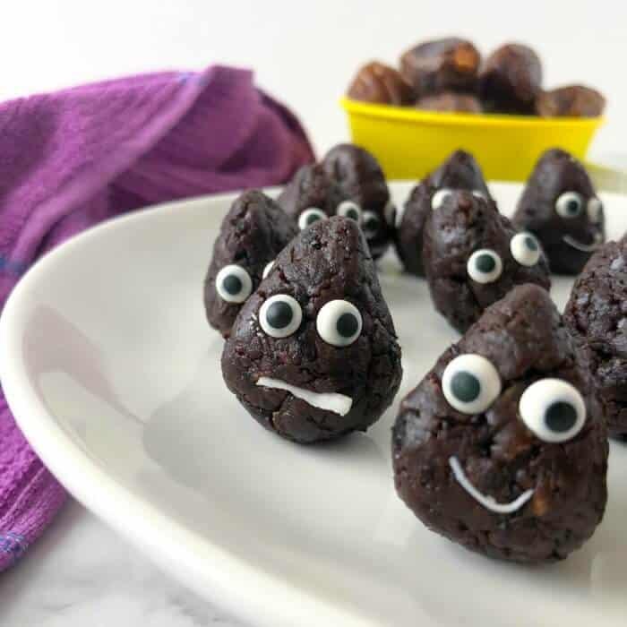 Chocolate snack bites on a plate made to look like a poo emoji