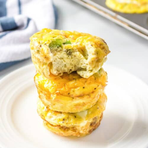 Stacked egg muffins on a plate