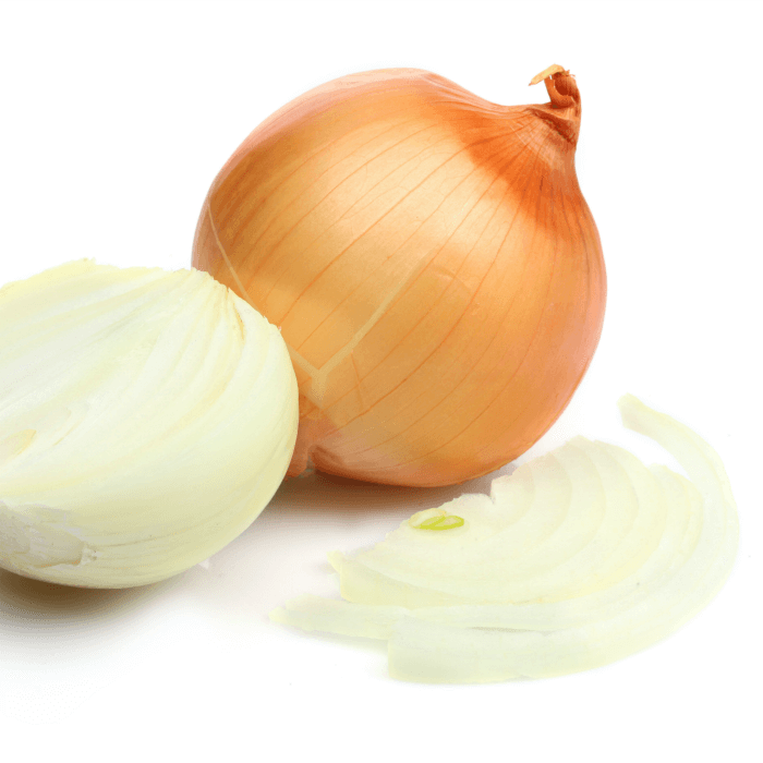 A full onion, a peeled onion cut in half and a slice of onions