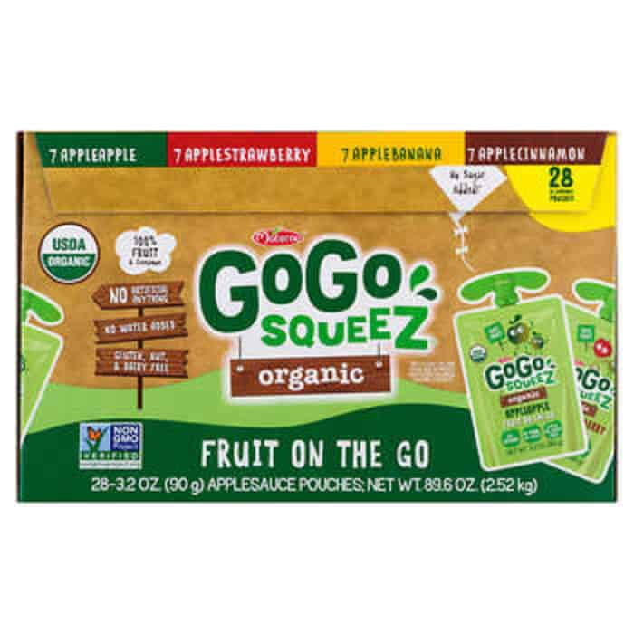 A box of gogo squeeze applesauce packets