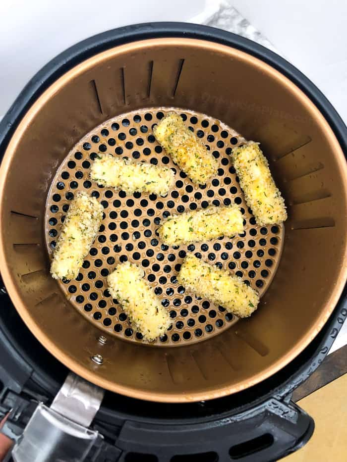 Panko coated string cheese in the air fryer before cooking