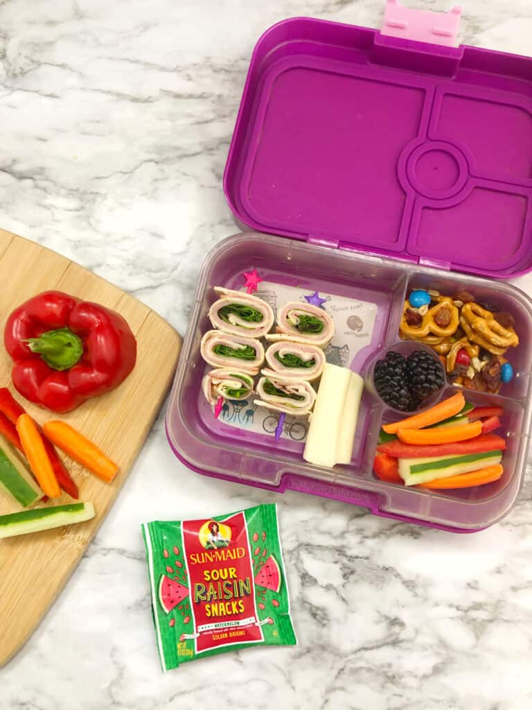 A kid\'s bento lunchbox full of wrap bites on a stick, trail mix with pretzels, raisins and chocolate, blackberries and carrots, peppers and cucumber slices next to a pouch of raisins.