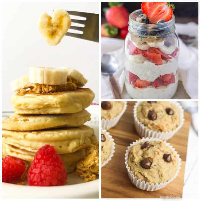 A collage of images of pancakes with fruit, muffins and overnight oats layered with fruit