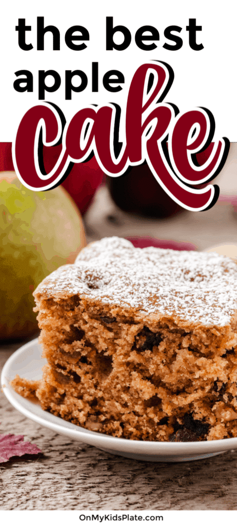 A slice of cake close up from the side on a plate with a title text overlay