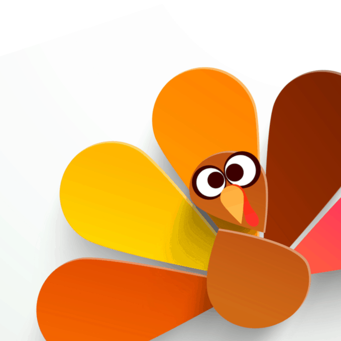 A cartoon turkey facing forward with a silly look on it's face