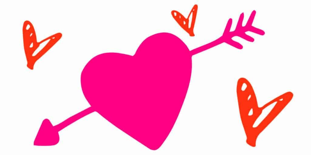 A large graphic heart with an arrow through it and a smaller heart next to it