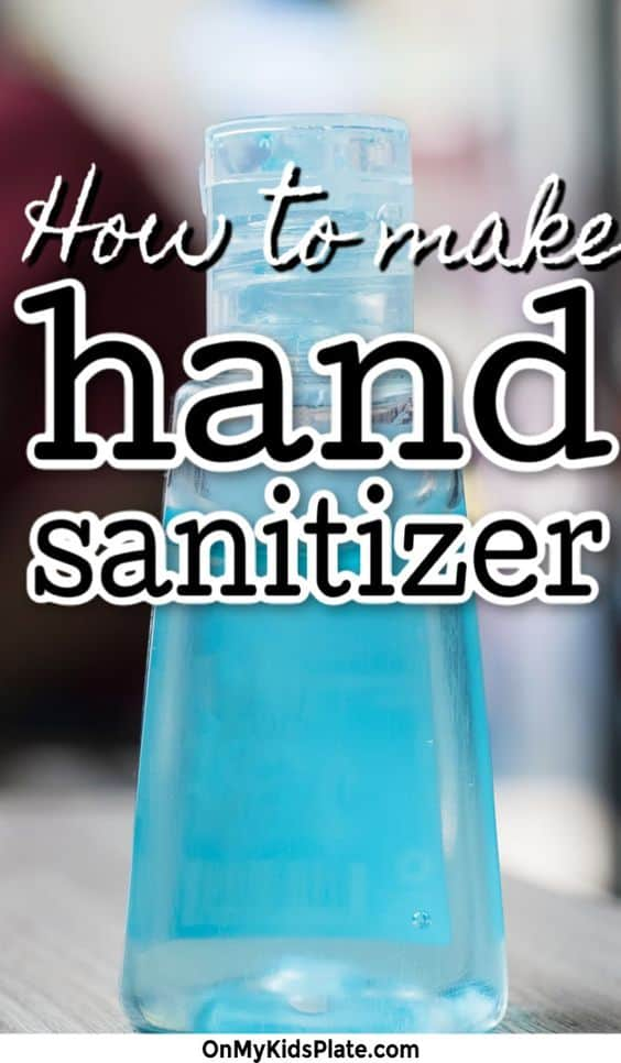 A bottle of hand sanitizer with text title overlay