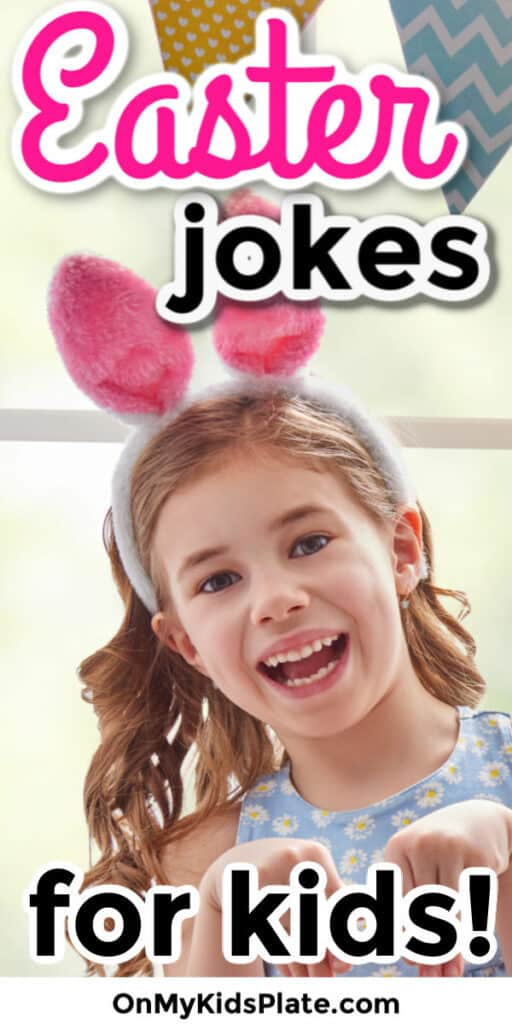 A little girl smiling at the camera pretending to be a rabbit with text title overlay