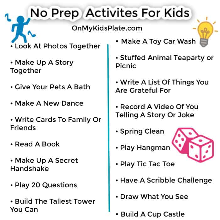 No prep activities list for kids with clipart