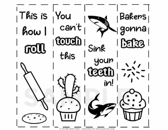 Sample kids baking bookmarks printable that can be colored.