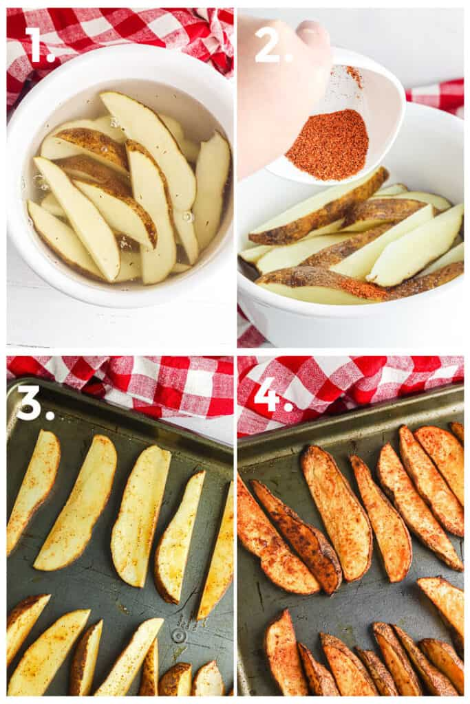 Step by step photos showing soaking potato wedges in water, adding seasoning to dried potato wedges, laying potatoes on a pan with space between, and cooked to a golden color on the pan.