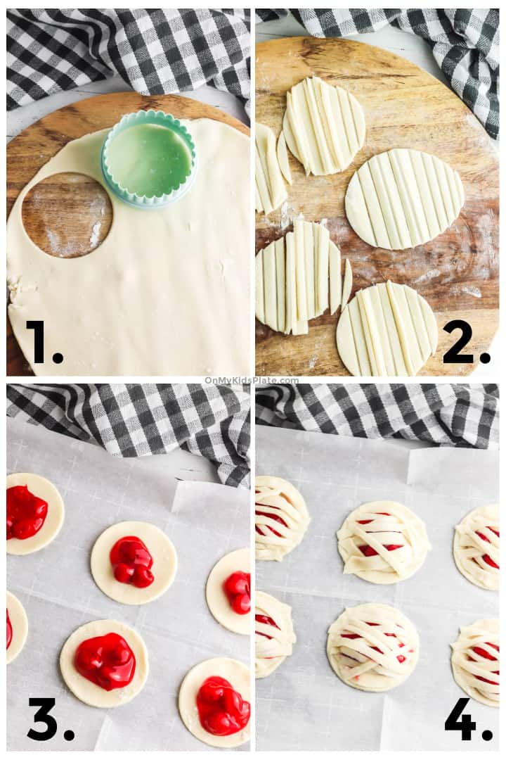 Step by step photos cutting pie crust into circles, cutting strips from the pie crust, adding cherry filling to the circles and covering the cherry filling with pie crust strips.