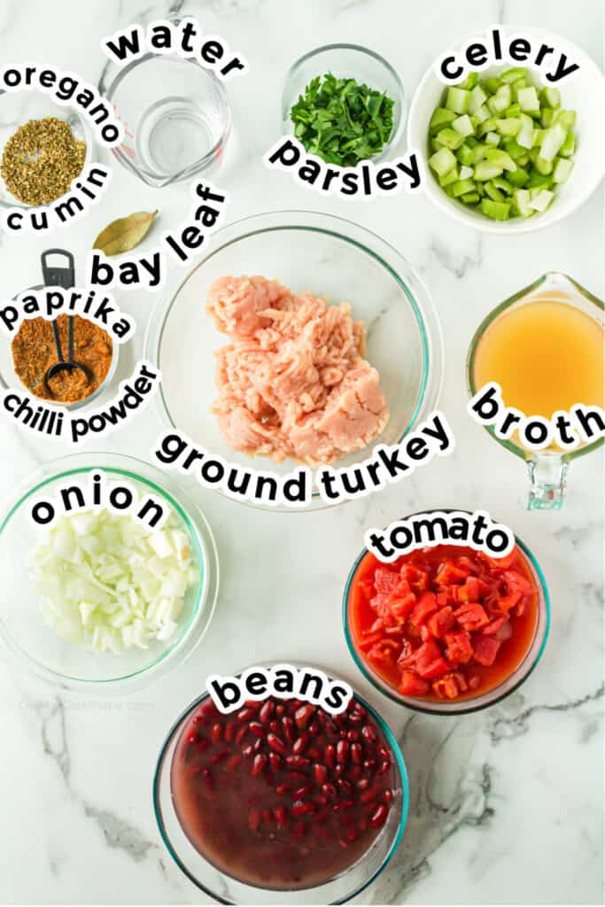 Ingredients for kid-friendly turkey chili.