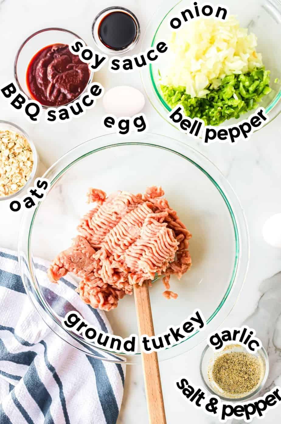 Ingredients for turkey meatloaf muffins