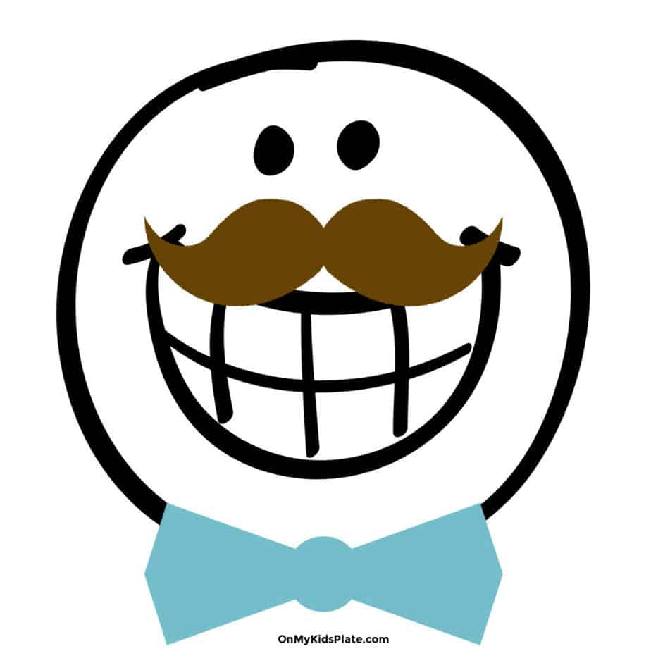 Large smiley face graphic with a mustache and bow tie