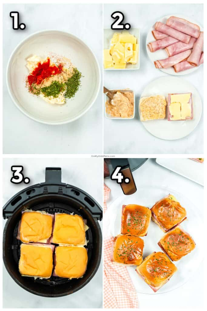 Step by step images mixing the sauce, layering the ham and cheese on the sandwiches, air frying the sliders and lastly cooked golden brown