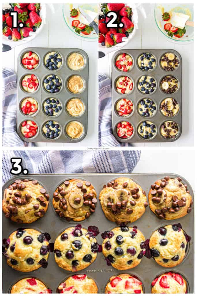 Step by step images adding strawberries, blueberries, peanut butter, banana and chocolate chips to pancake muffins then baking.