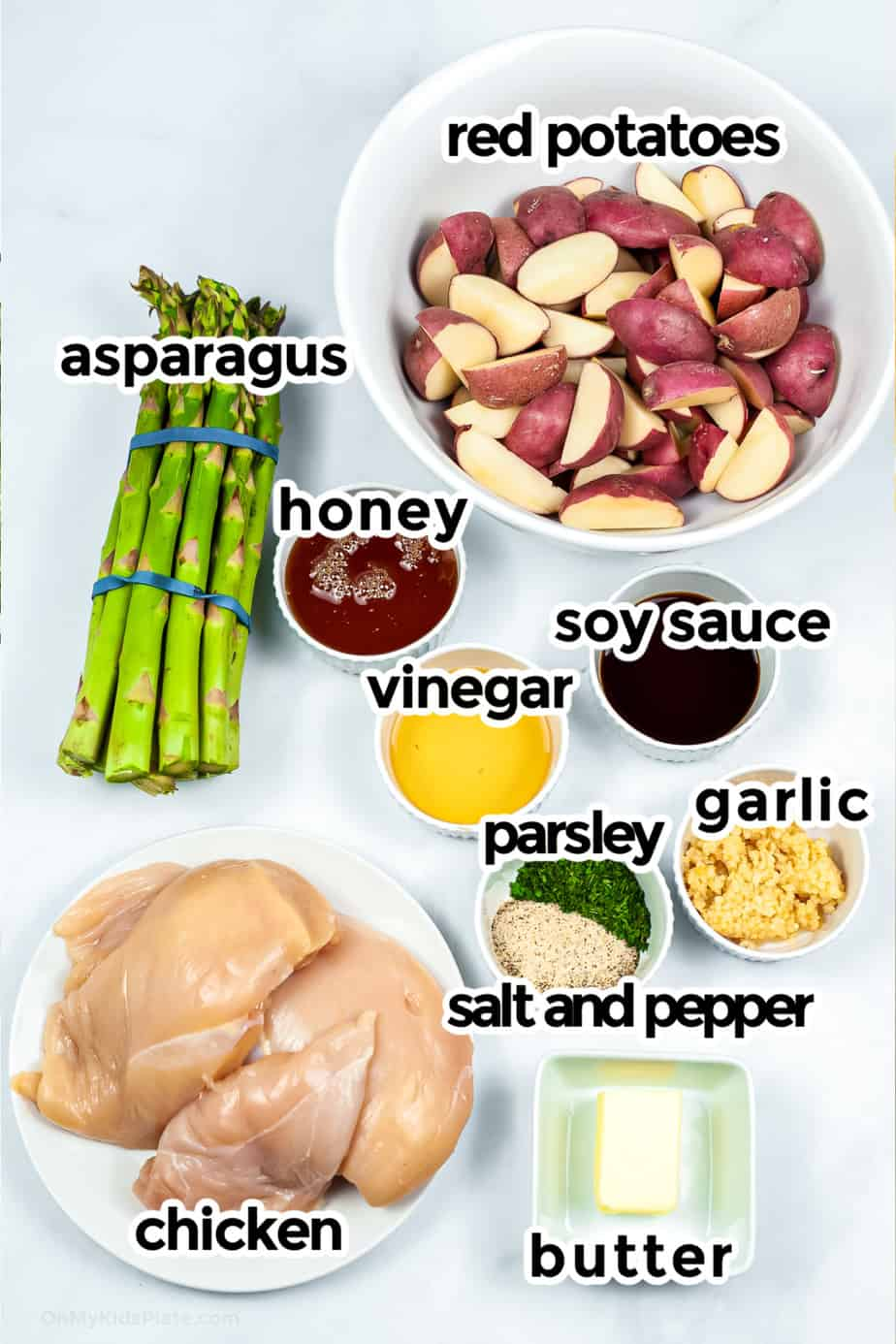 Ingredients needed for honey garlic and potato chicken packets