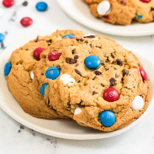 Cookies on a plate with red white and blue M&Ms