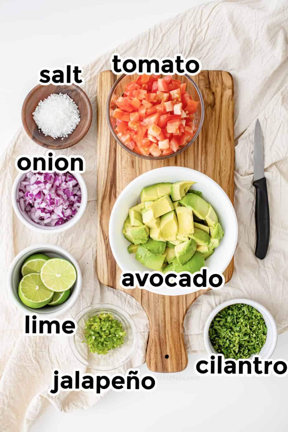 Ingredients for guacamole.