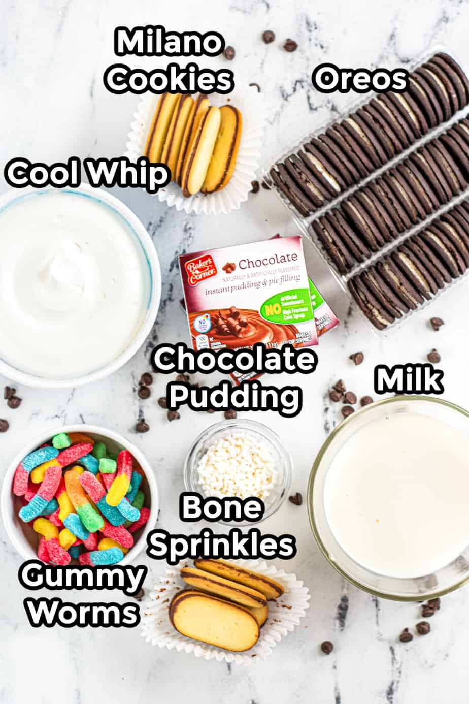 Ingredients for graveyard dirt cups for Halloween