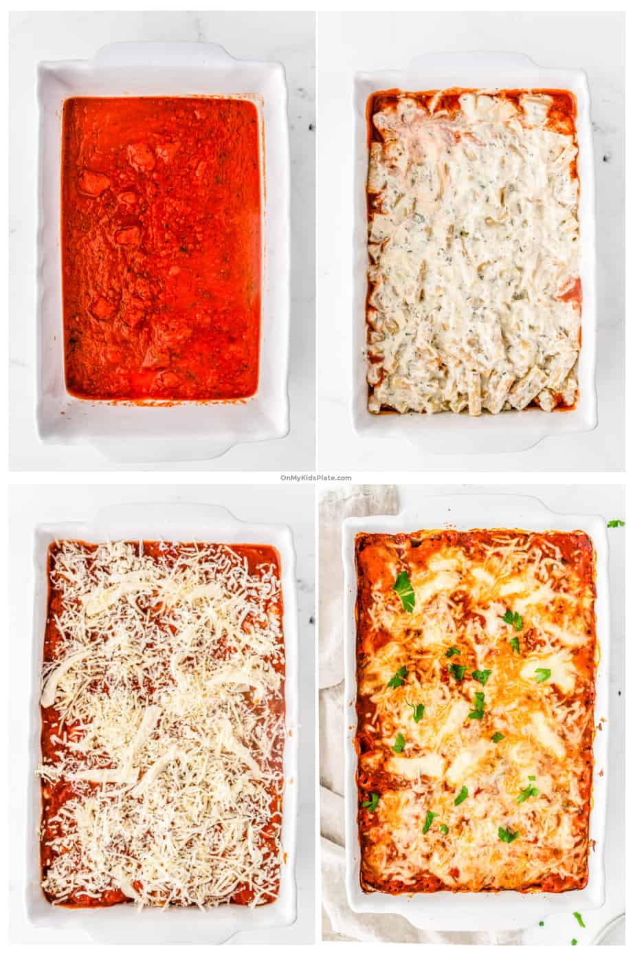 Step by step photos layer tomato sauce, pasta and cheese to make baked ziti.