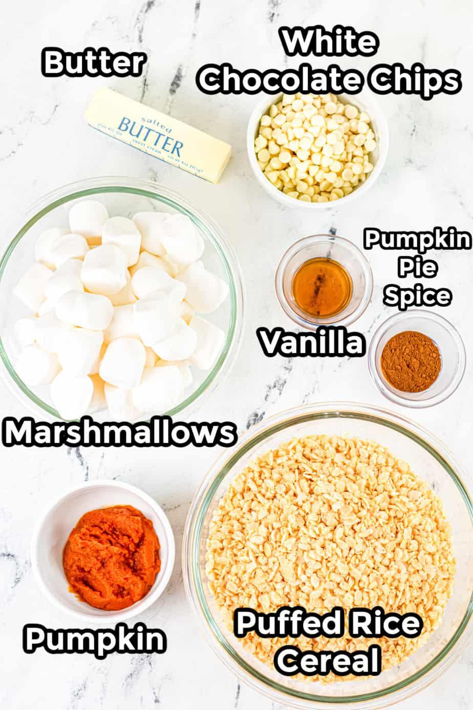 Ingredients for pumpkin spice rice krispie treats