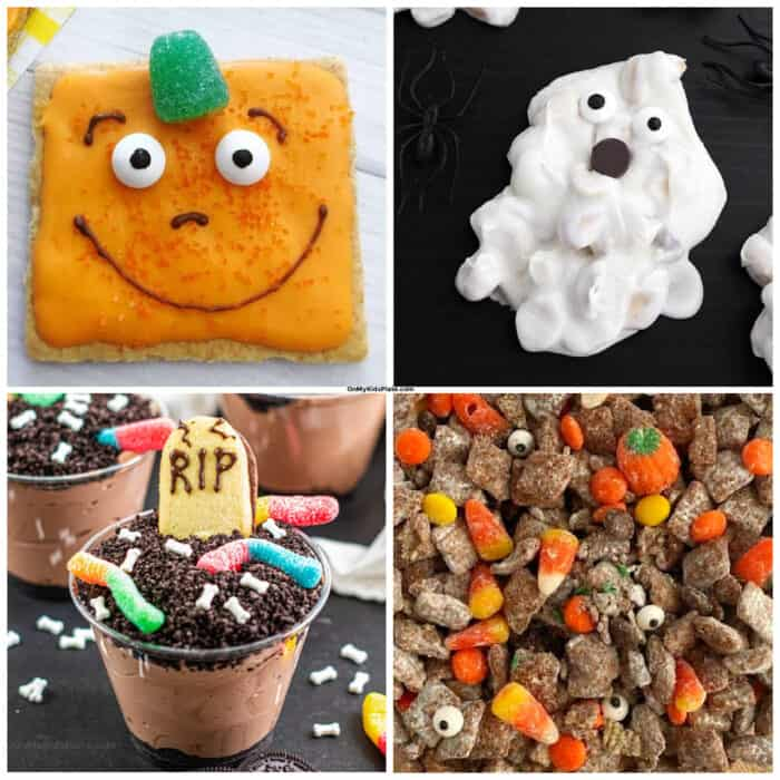 Collage of a pumpkin, ghost, tombstone and party mix no bake Halloween desserts