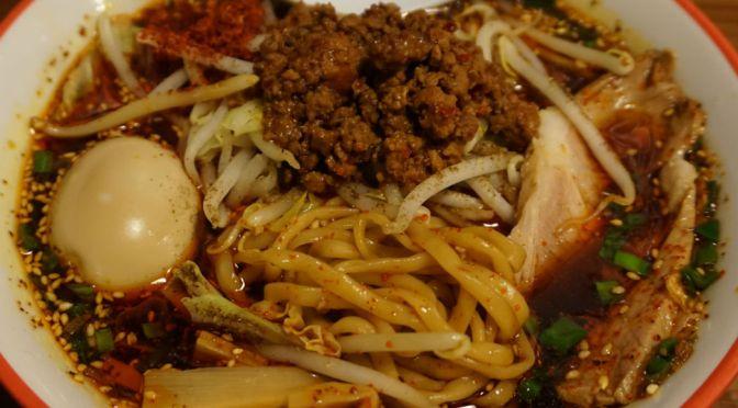 練馬「やまの」病みつきの「辛い汁ソバ」&「ジャンボ餃子」&「まぜそば」。たまらない美味しさ。