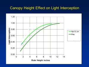 The darker green line shows canopy light interception for May.