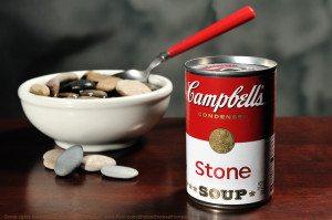 I'm not alone in my stone soup world.  As the article here describes, the allegory functions as a model for a peer-based economy where  folks share what they can to create a valuable final product. http://www.themindfulword.org/2012/stone-soup-peer-networks-gift-economy/