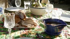 Chicken dinner on the deck